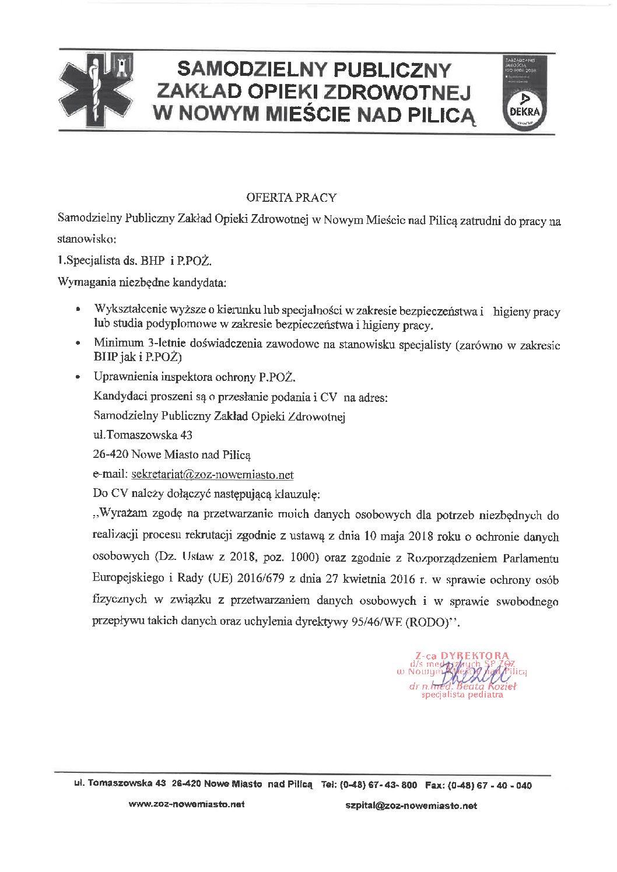 Oferta pracy – Specjalista ds. BHP i P. POŻ.